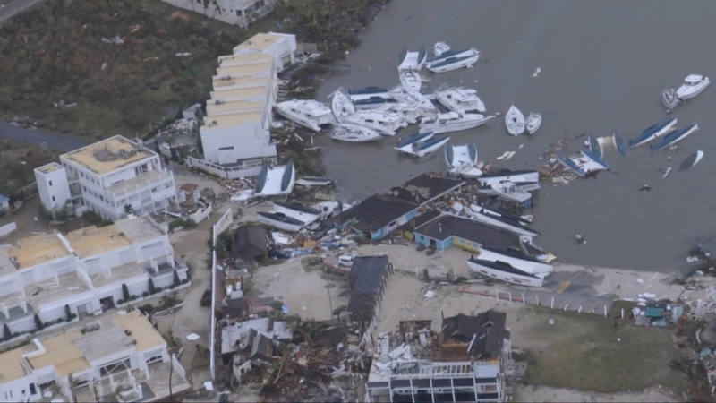 Imagen aérea, tomada de vídeo, de los efectos del huracán Irma en la isla de San Martín