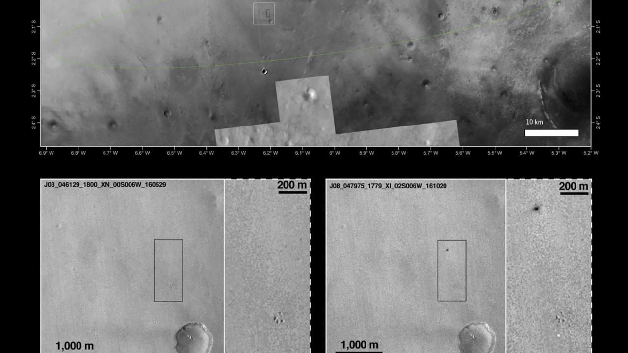 Imagen de la cámara CTX de la NASA que orbita alrededor de Marte
