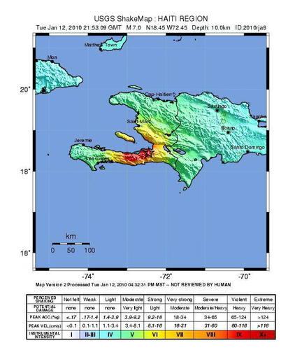 Imagen del Instituto Geológico de Estados Unidos (USGS) que muestra a la región de Haití