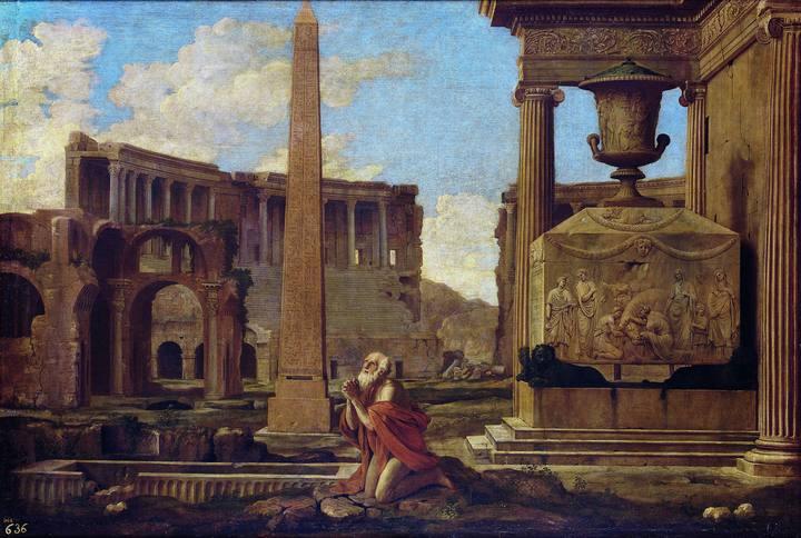 Jean Lemaire (hacia1601-1659). 'Ermitaño orando en ruinas clásicas' (1637-1638). Óleo sobre lienzo del Museo Nacional del Prado.