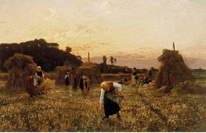 Jules Breton. 'Espigadoras al atardecer', 1863. Óleo sobre lienzo. Colección Pérez Simón, México.