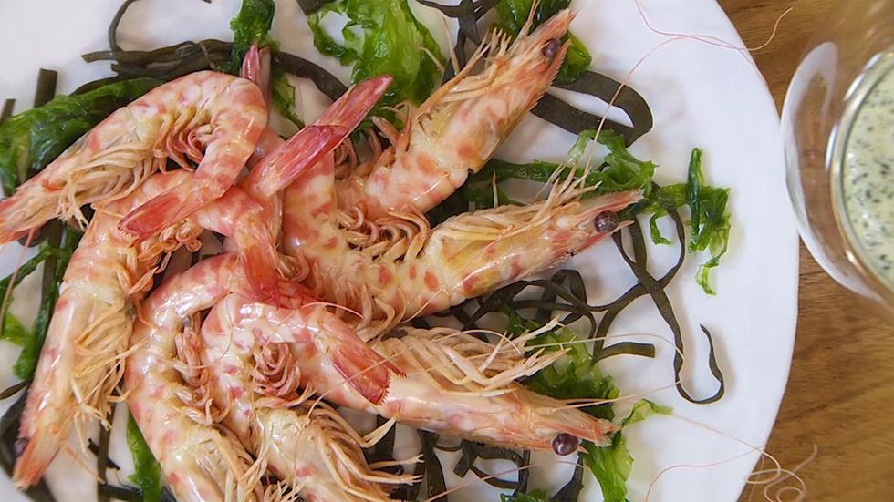 Torres en la cocina - Langostinos con mayonesa de algas