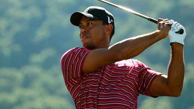 Lanzan un perrito caliente a Tiger Woods