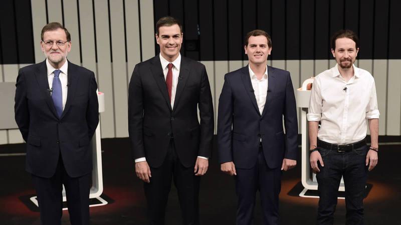 Los líderes de PP, PSOE, Cs y Podemos, en el debate a cuatro de la campaña electoral del 26J
