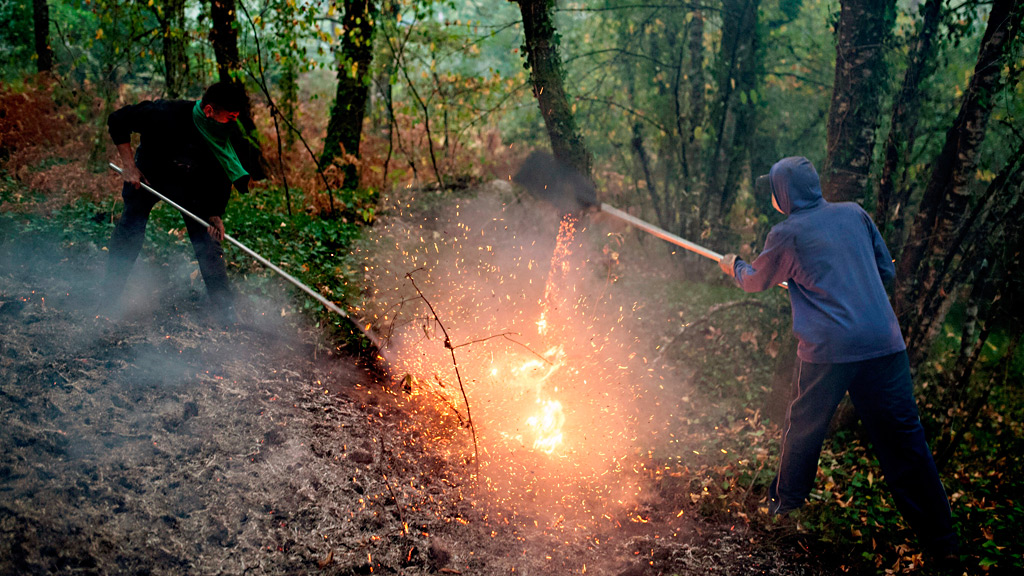 Las llamas arrasaron en pocas horas el 70 % de Carballeda de Avia, en Ourense