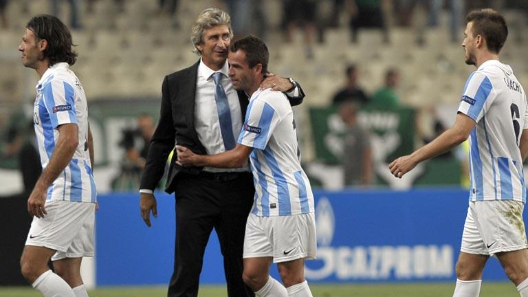 El Málaga celebra su histórico pase a la Champions