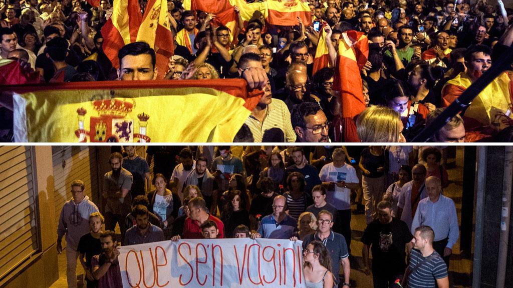 Manifestaciones en contra y a favor de que policías y guardias civiles se alojen en el cuartel de Sant Boi