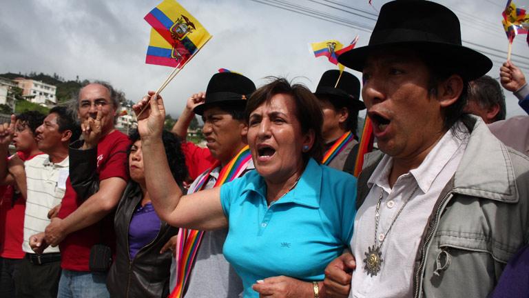 Marcha indígena contra el presidente de Ecuador