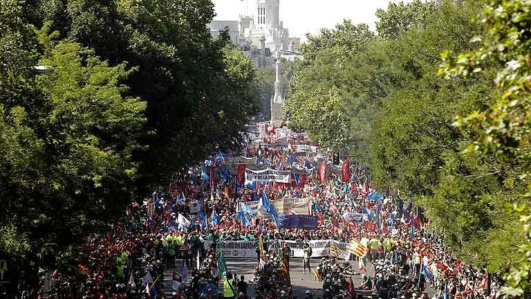 Miles de personas acompañan a los mineros por las calles de Madrid