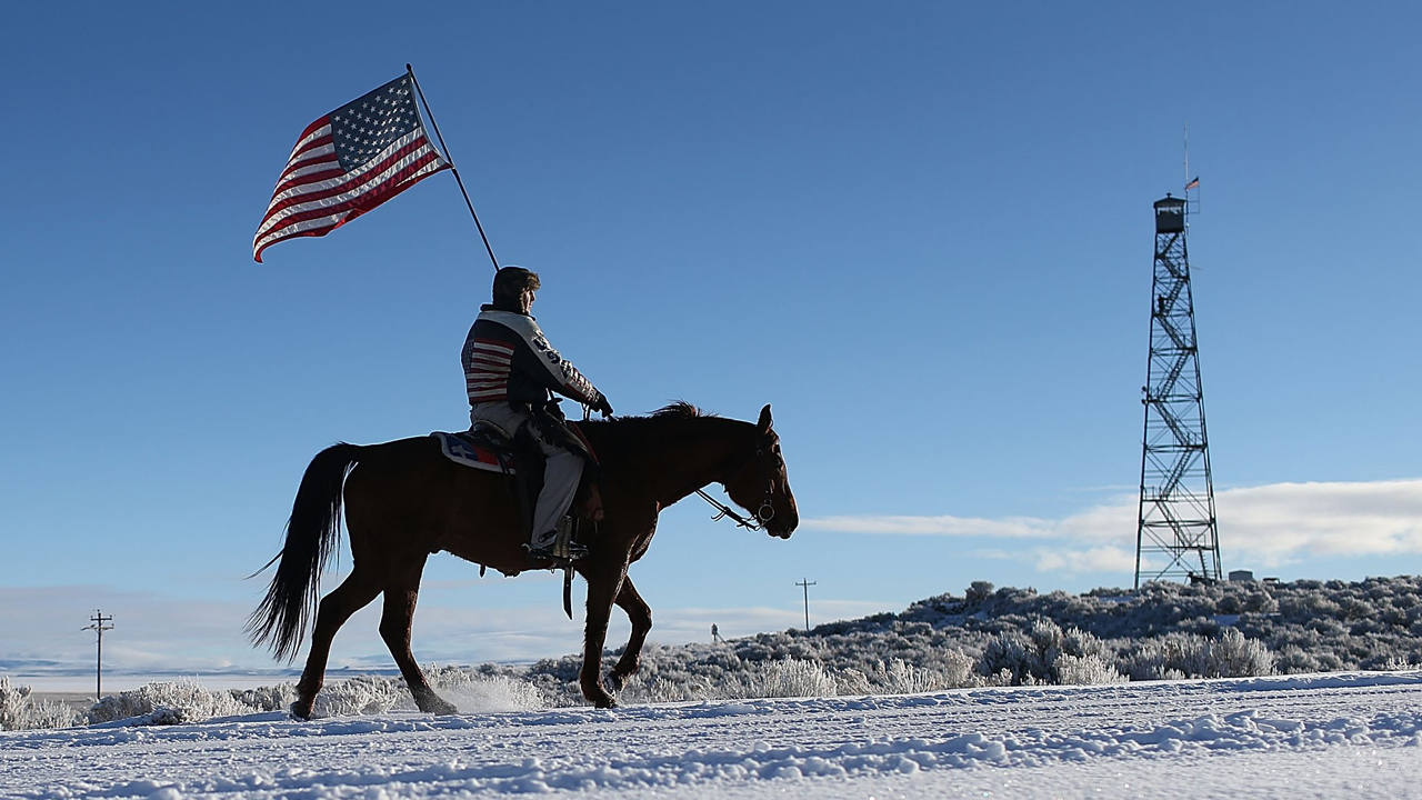 El miliciano Duane Ehmer sostiene una bandera estadounidense sobre su caballo Hellboy