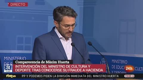 """El ministro de Cultura, Màxim Huerta, anuncia su dimisión: """"Amo la cultura y por eso me retiro"""""""