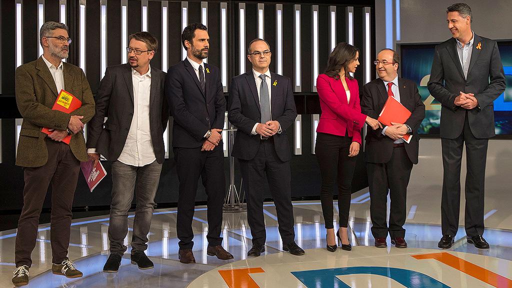 Minuto final del debate de los siete candidatos a la Generalitat en TVE