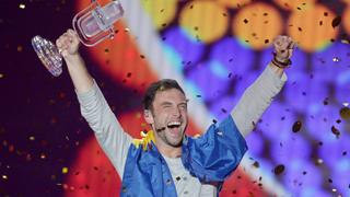 Eurovisión 2015 - Måns Zelmerlöw celebra el triunfo de Suecia en Eurovisión