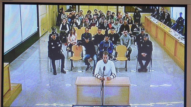 Monitor de la sala de prensa de la Audiencia Nacional de San Fernando de Henares que retransmite el juicio a los ocho jóvenes de Alsasua acusados de terrorismo