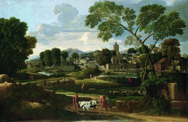 Nicolas Poussin (1594-1665). 'Paisaje con el entierro de Foción' (1648). Óleo sobre lienzo del Museo Nacional de Gales que puede verse en a exposición del Grand Palais.