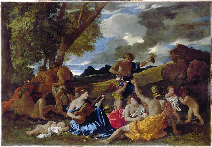 Nicolas Poussin (1594-1665). 'Bacanal con guitarrista' (hacia 1627-1630). Óleo sobre lienzo del Museo del Louvre.