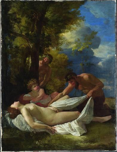 Nicolas Poussin (1594-1665). 'Ninfas y sátiros' (1627). Óleo sobre tabla de la National Gallery de Londres.