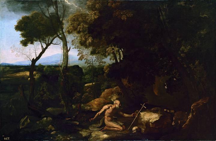 Nicolas Poussin (1594¿1665). 'Paisaje con San Pablo El Ermitaño' (1637¿1638). Óleo sobre tabla del Museo del Prado.