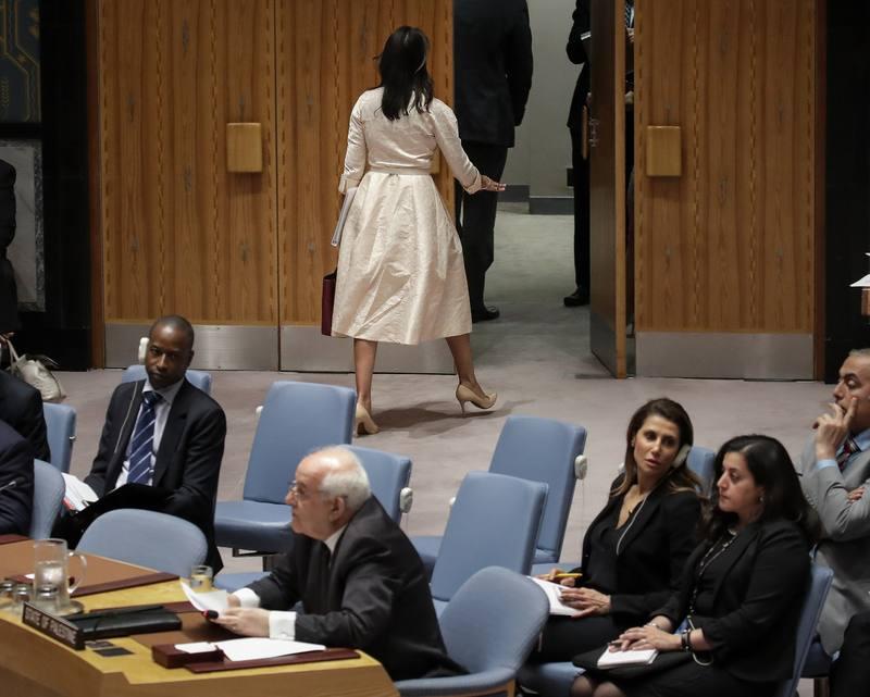 Nikki Haley abandona la sala durante el discurso del enviado palestino en la ONU