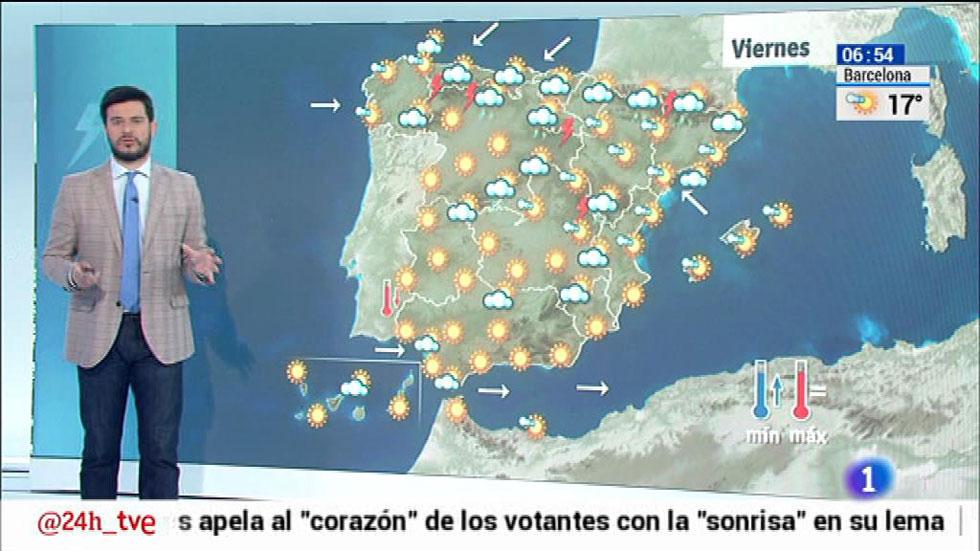 Nubes en el cuadrante noroeste y temperaturas en ascenso en Andalucía