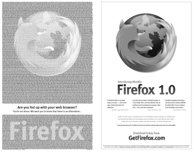 El anuncio de Firefox publicado en el New York Times en 2004 gracias a las aportaciones de los interautas