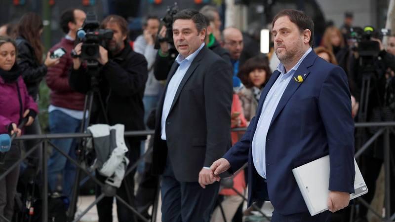 Oriol Junqueras llega a la Audiencia Nacional como imputado por rebelión.