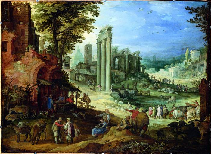 Paul Bril (1554-1626). 'Vista del campo Vaccino con mercado de ganado' (1600). Óleo sobre cobre. Staatliche Kunstsammlungen Gemäldegalerie, Dresde, Alte Meister.