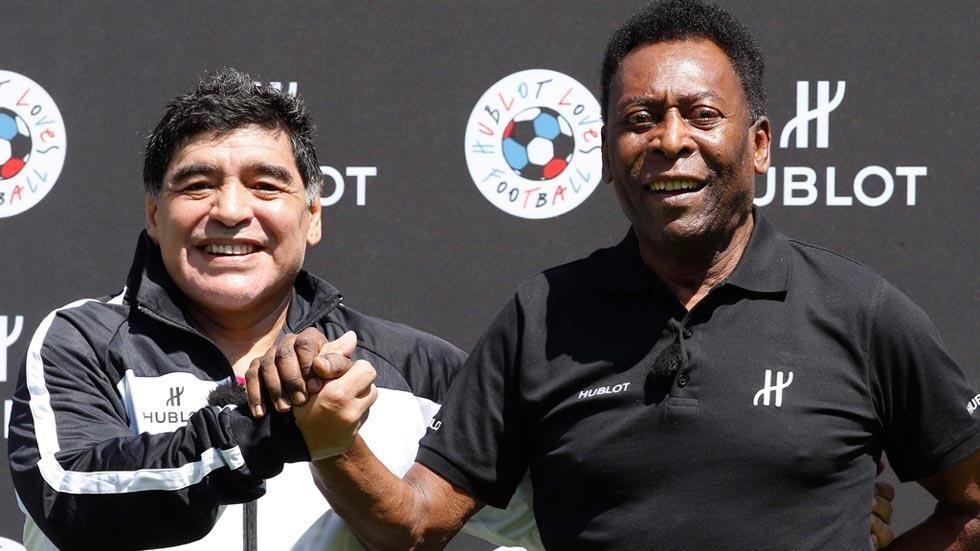 Pelé y Maradona se reconcilian en París