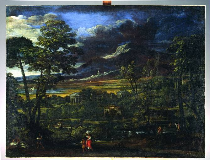 Pietro da Cortona (1597-1669). 'Paisaje con dos templos' (1626). Óleo sobre lienzo cedido por los Museos Vaticanos.
