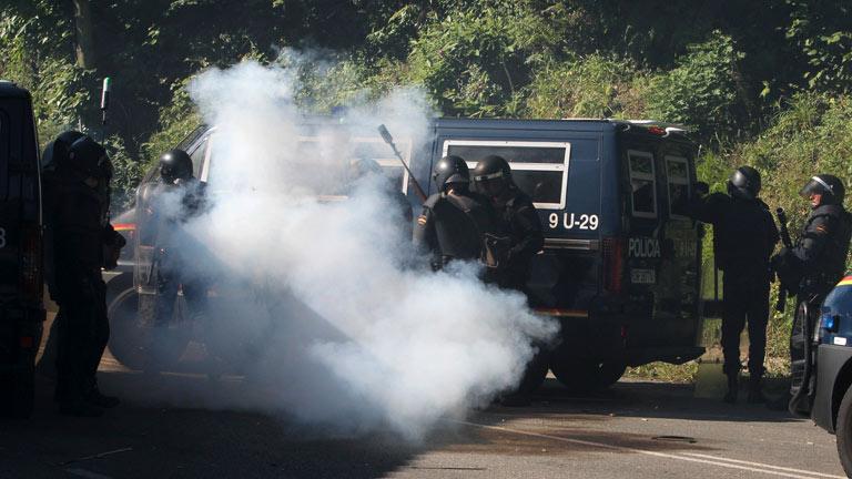 Cuatro policías y tres periodistas heridos en las protestas de los mineros en Asturias