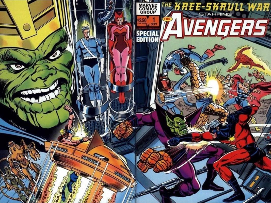 Portada de una de las muchas reediciones de Los Vengadores: La guerra Kree-Skrull