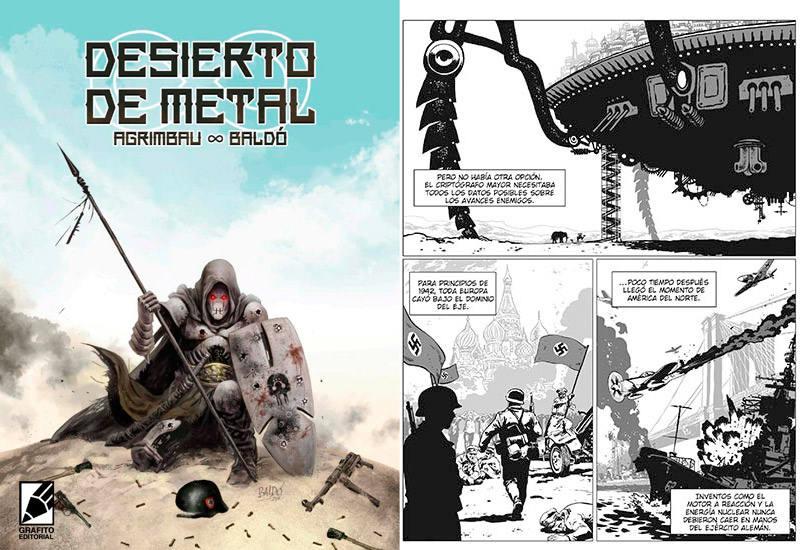 Portada y página de 'Desierto de metal'