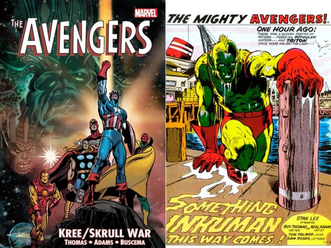 Portada y página de Dibujo de Vengadores: La guerra Kree-Skrull