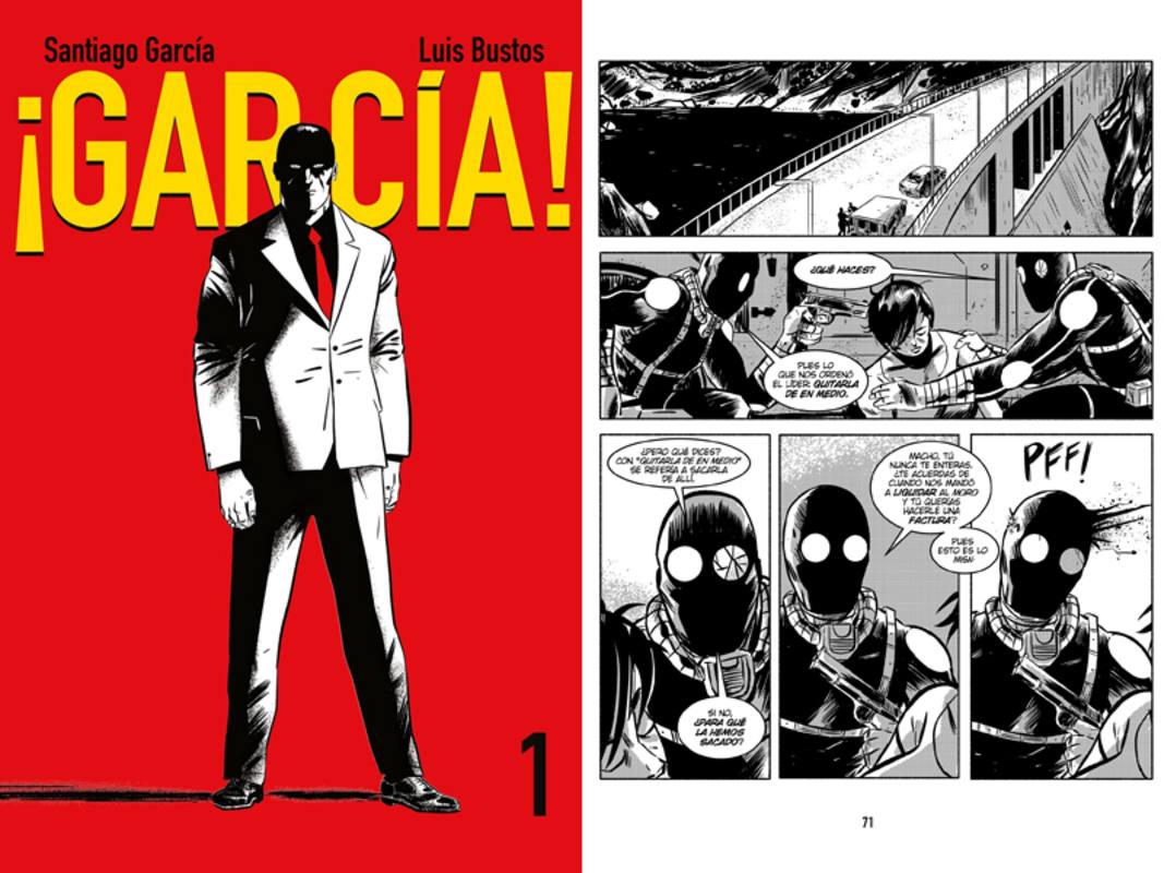 Portada y página de '¡García!'