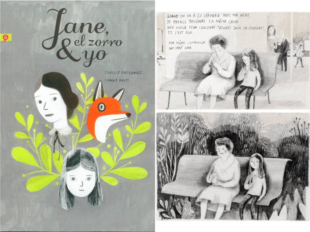 Portada y página de 'Jane, el zorro y yo'