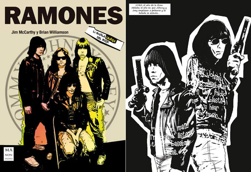 Portada y página de 'Ramones. La novela gráfica'