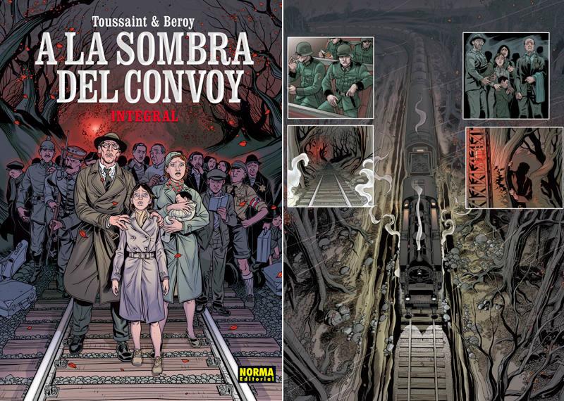 Portada y página de 'A la sombra del convoy'