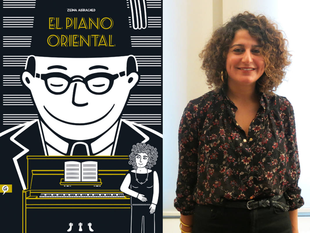 Portada de 'El piano oriental' y Zaina Abirached durante la entrevista