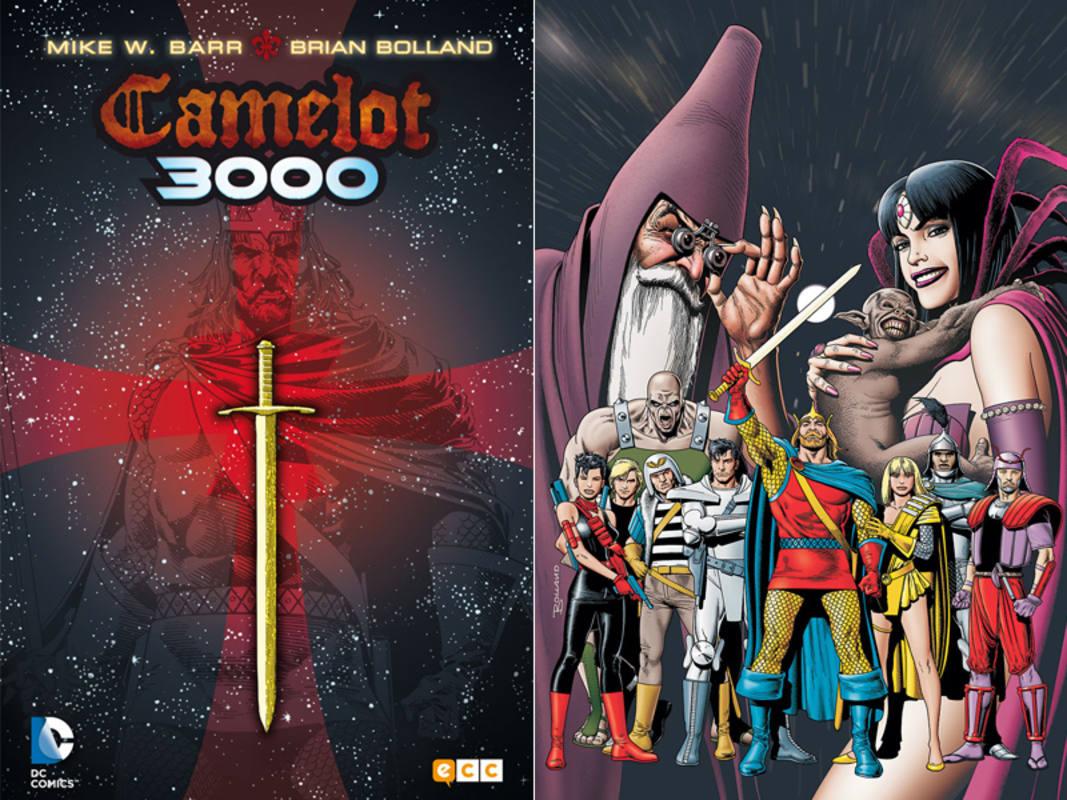 Portada de la reedición de 'Camelot 3000' y una ilustración de los protagonistas