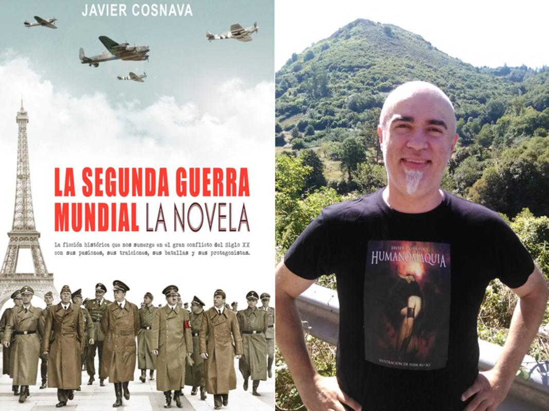 Portada de 'La Segunda Guerra Mundial, la novela' y su autor, Javier Cosnava