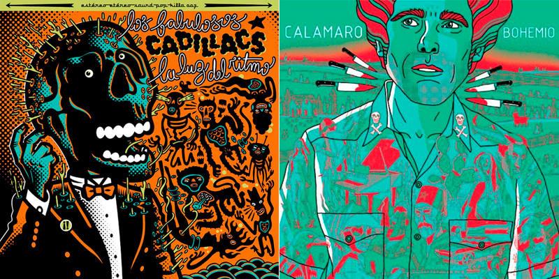 Portadas de discos de Los fabulosos Cadillacs y Andrés Calamaro