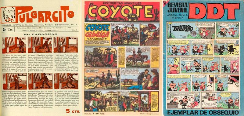 Portadas de 'Pulgarcito', 'El Coyote' y 'DDT'