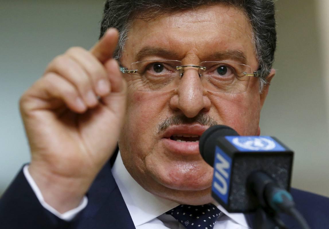 El portavoz de la Comisión Suprema para las Negociaciones (CSN) de la oposición siria, Salem Muslit, tras la reunión en Ginebra