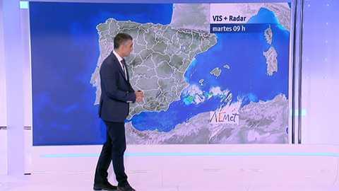 Posibilidad de chubascos y tormentas localmente fuertes en el sur de Aragón y Cataluña, Castilla-La Mancha y área de Levante, y persistentes en Valencia