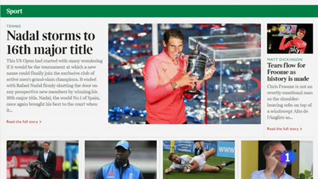 """La prensa mundial se rinde ante un """"inmenso"""" Rafa Nadal"""