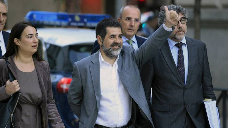 El presidente de Òmnium Cultural, Jordi Sánchez, a su llegada a la Audiencia Nacional.