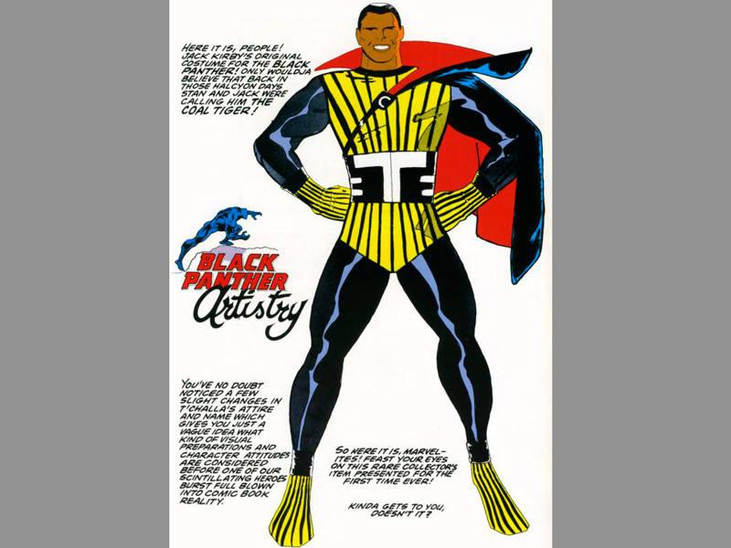 Primer diseño de Jack Kirby del Pantera Negra, cuando todavía se llamaba 'Tigre de azabache'