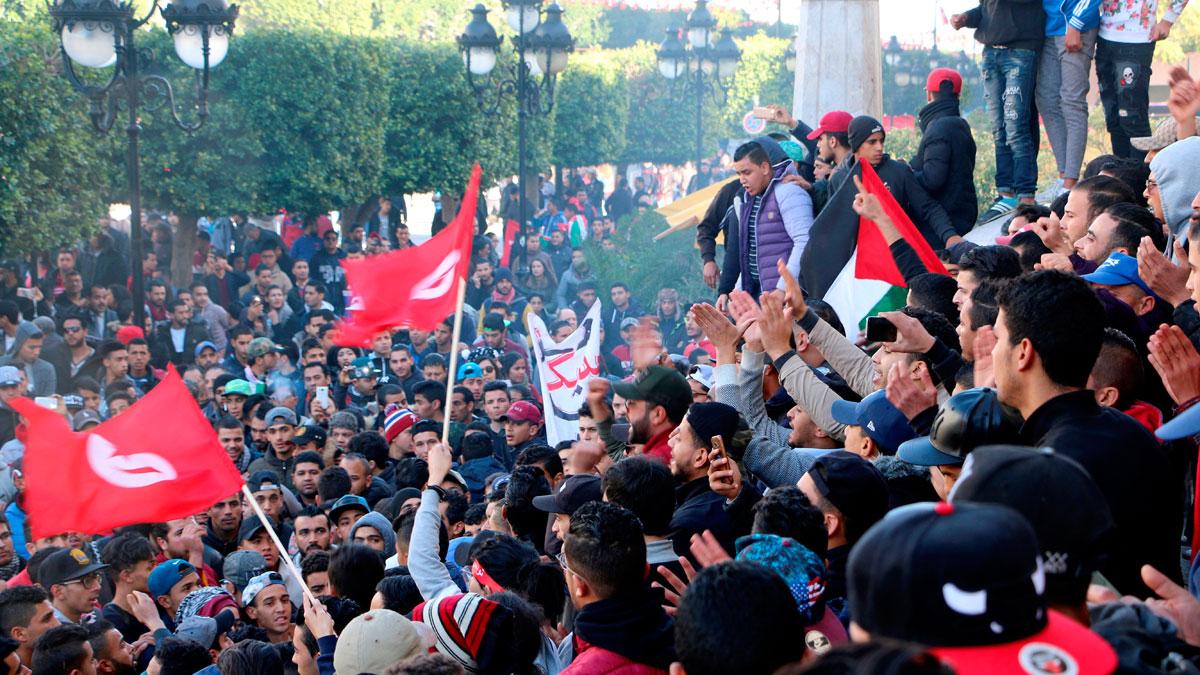 Las protestas marcan el séptimo aniversario de la revolución de Túnez
