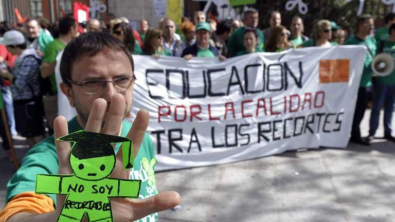 Concentraciones contra los recortes en educación en España