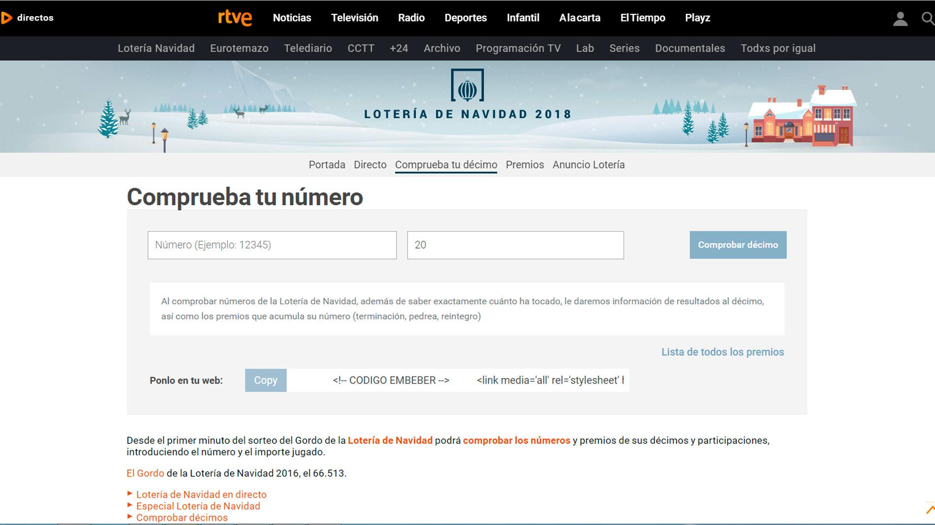 Puedes comprobar tus décimos en RTVE.es